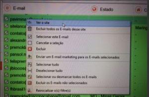 Filtros de pesquisas - Extrator de emails